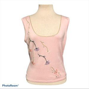 Mary Jane Knit Embroidered Tank Top Pink Womens L